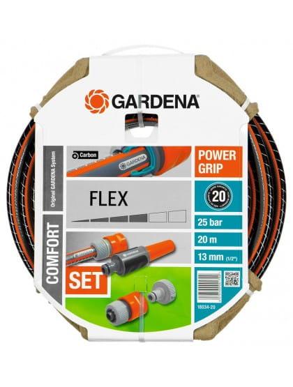 Комплект Gardena : шланг Flex + фитинги + наконечник для полива