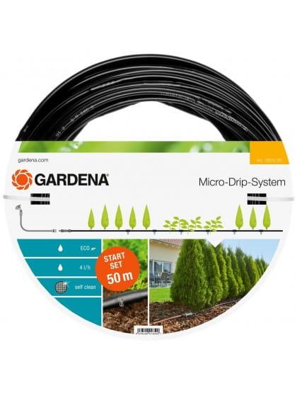 Комплект Gardena: шланг сочащийся для наземной прокладки + мастер-блок