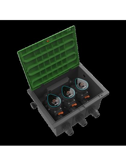 Комплект Gardena 3 клапана для полива 9В Bluetooth® в коробке для клапанов