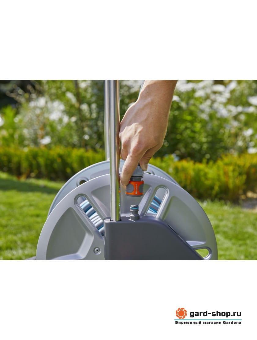 Тележка для шлангов металлическая Gardena AquaRoll M с комплектом для полива
