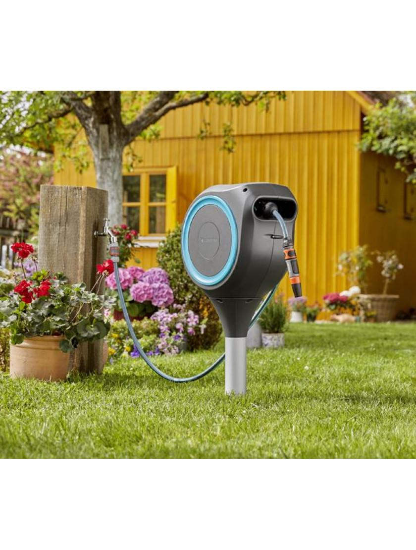 Катушка со шлангом напольная автоматическая Gardena RollUp S 15 м голубой