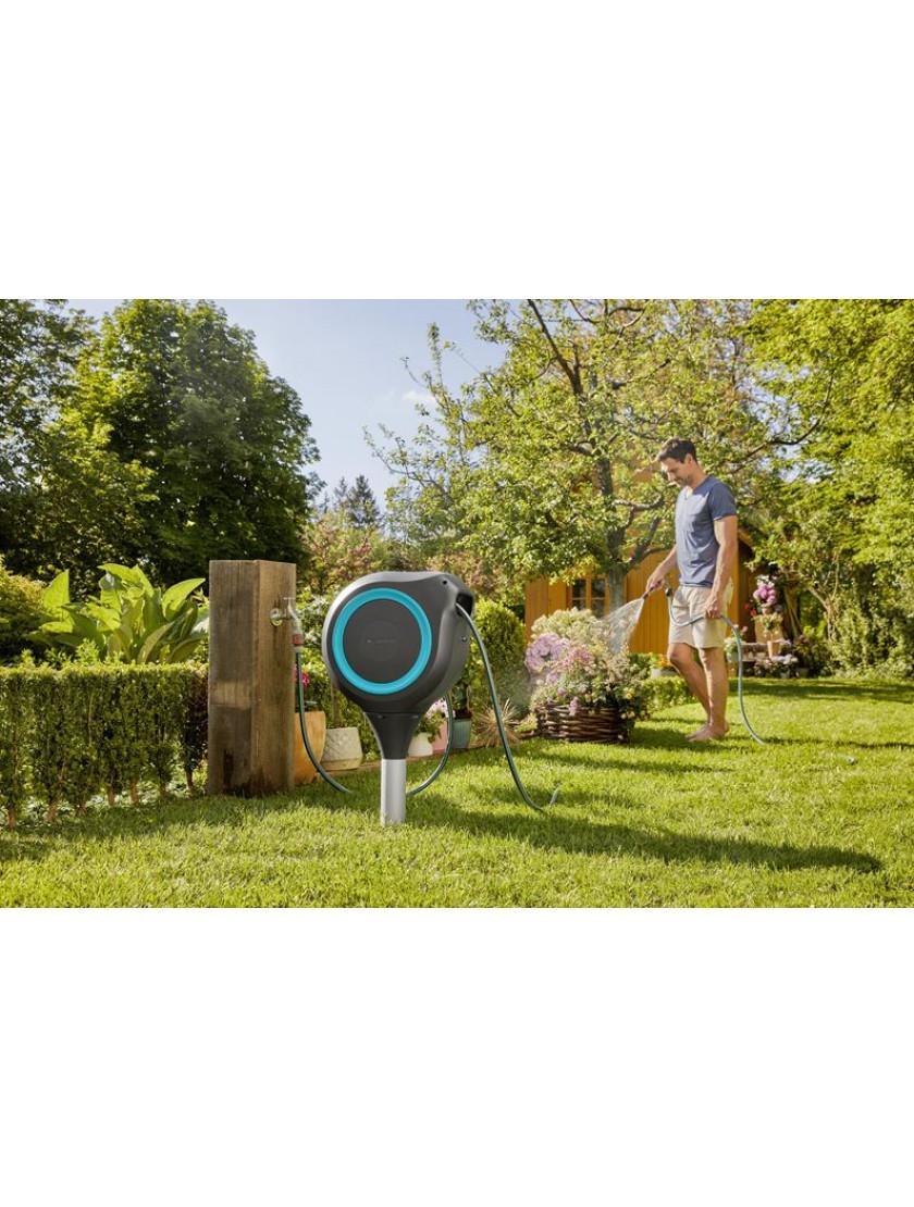 Катушка со шлангом напольная автоматическая Gardena RollUp M 20 м голубой