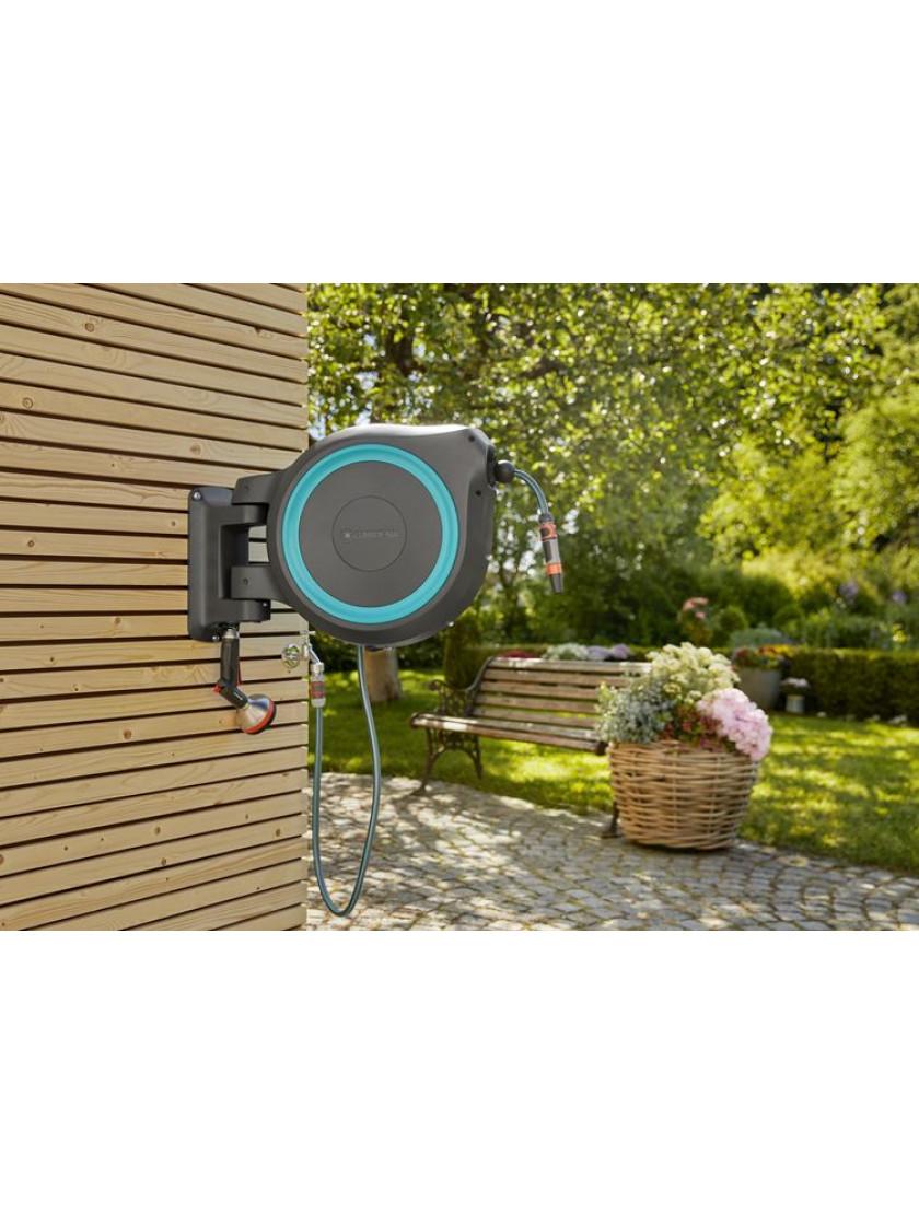 Катушка со шлангом настенная автоматическая Gardena RollUp L 30 м голубой